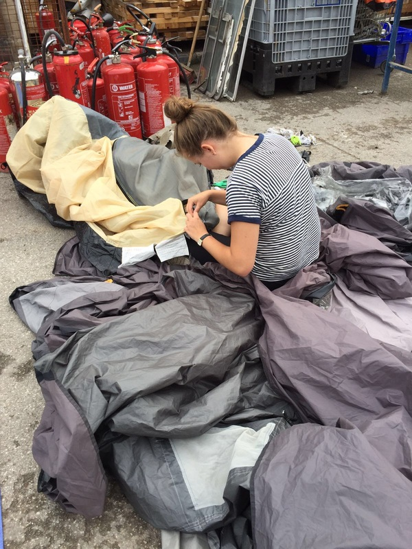 Oxford Brookes MA Development and Emergency Practice student Hannah Lathan putting her sewing skills to the test repairing tents in the u0027Jungleu0027 refugee ... : hannah tents - memphite.com